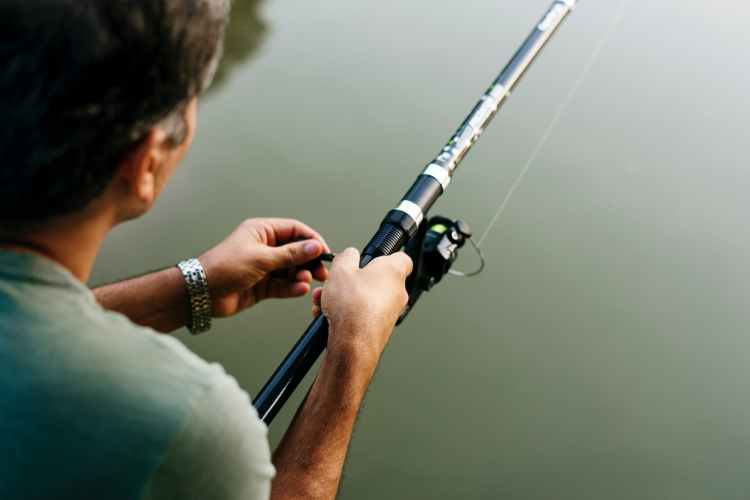 person holding gray and black fishing rod